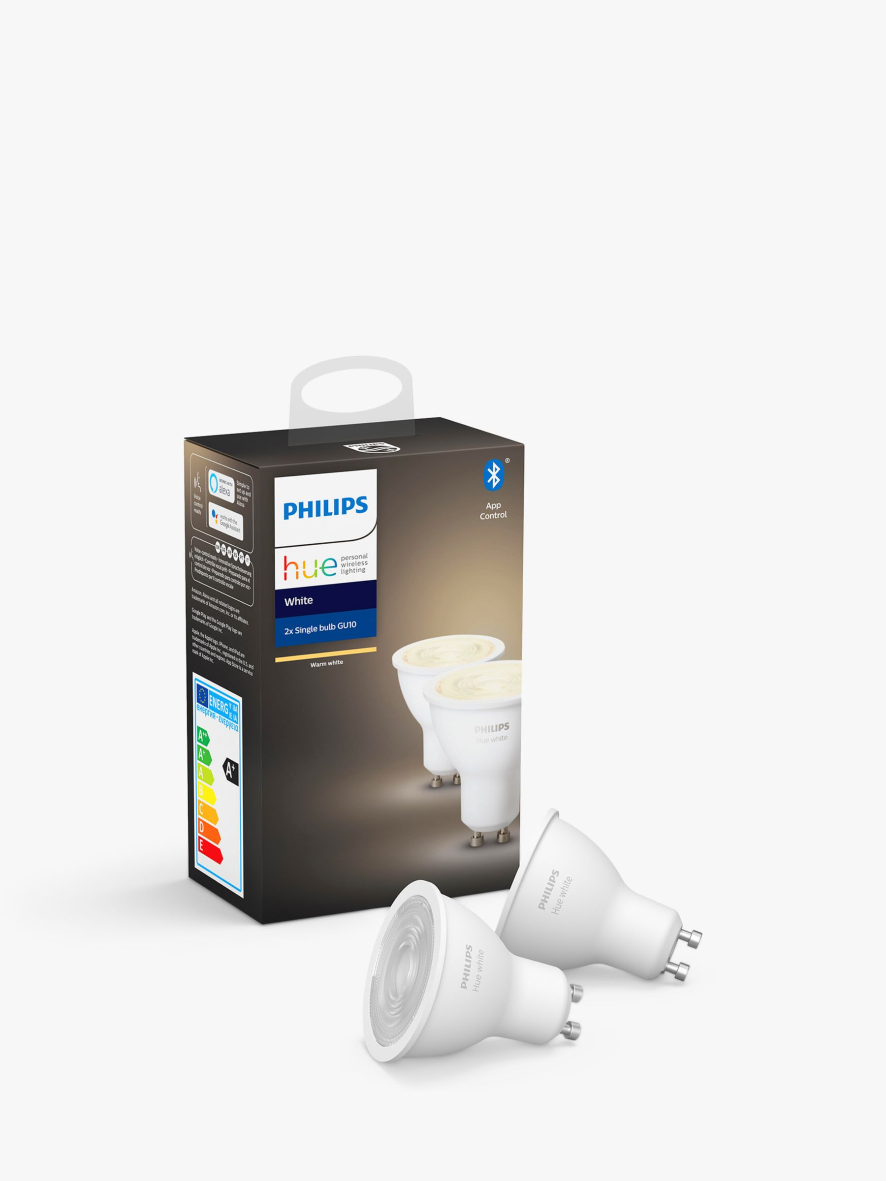 Philips Philips Hue White Wireless Lighting LED Light Bulb with Bluetooth, 5.2W GU10 Bulb, Pack of 2