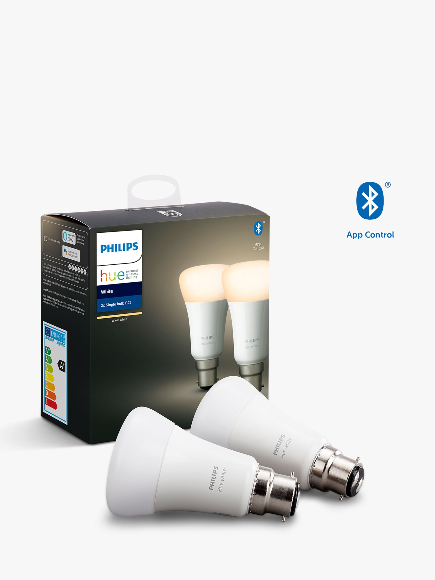 Philips Philips Hue White Wireless Lighting LED Light Bulb with Bluetooth, 9W A60 B22 Bayonet Cap Bulb, Pack of 2