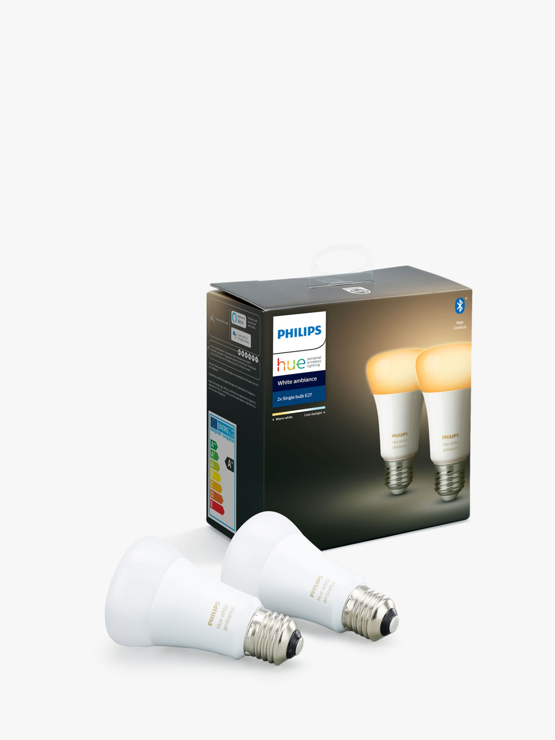 Philips Philips Hue White Ambiance Wireless Lighting LED Light Bulb with Bluetooth, 9W A60 E27 Edison Screw Cap Bulb, Pack of 2