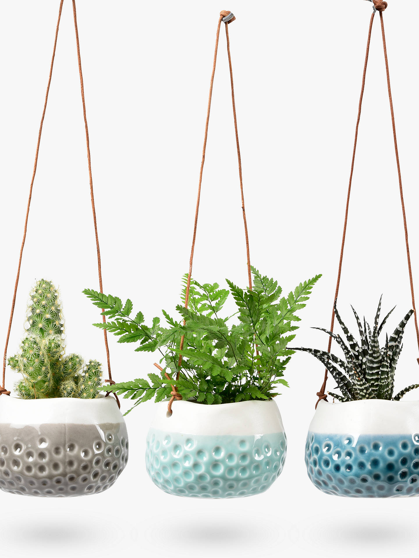 Buy Burgon & Ball Baby Dotty Hanging Plant Pot Trio, Set of 3, Blue/Grey Online at johnlewis.com