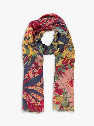 Powder Cottage Garden Print Scarf, Navy/Multi
