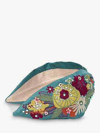 Powder Modern Floral Headband, Turquoise