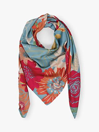 Powder Modern Floral Print Satin Square Scarf, Sky Blue/Multi