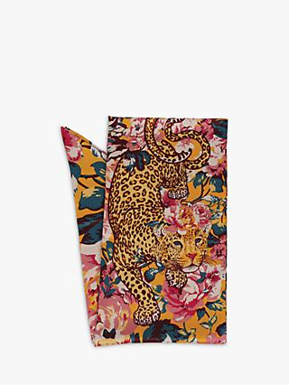 Powder Leopard and Floral Print Skinny Scarf, Multi