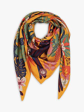 Powder Toucan Print Satin Square Scarf, Yellow/Multi