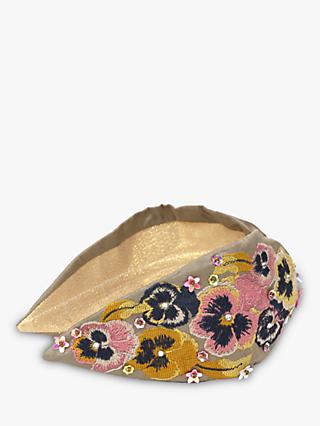 Powder Pansy Embroidery Headband, Stone/Multi
