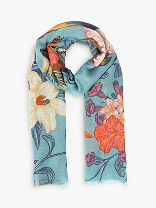 Powder Tropical Birds Print Scarf, Turquoise/Multi