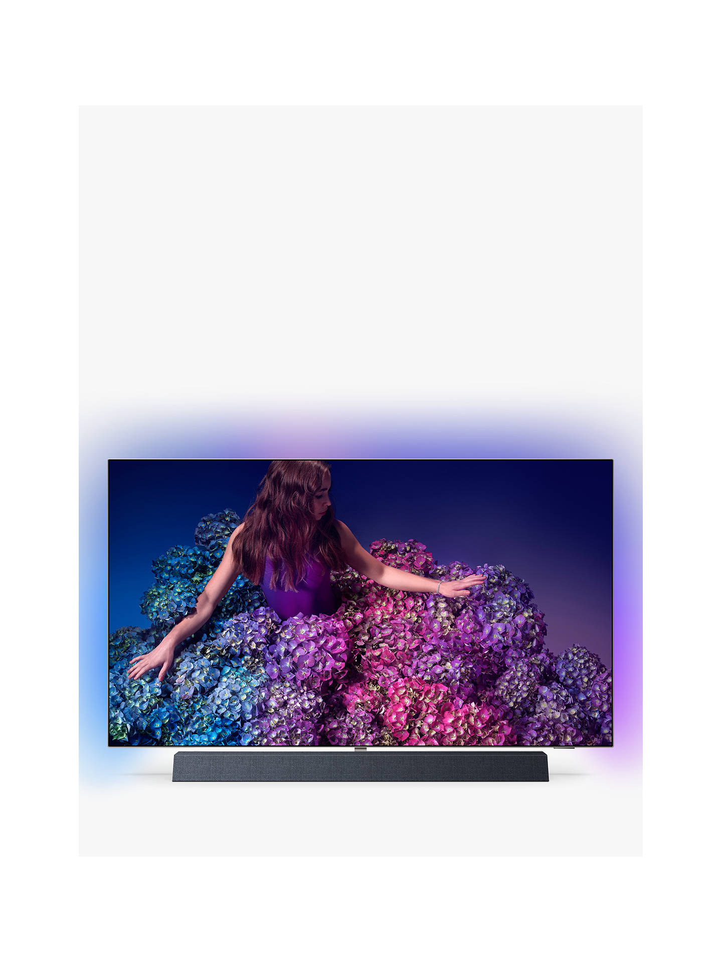 """Philips 55 Oled934 (2019) Oled Hdr 4 K Ultra Hd Smart Android Tv, 55"""" With Freeview Hd, Ambilight, & Bowers & Wilkins Integrated Sound Bar Stand, Uhd Premium Certified, Silver by Philips"""