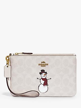 Coach Signature Canvas Snowman Wristlet Purse, Multi