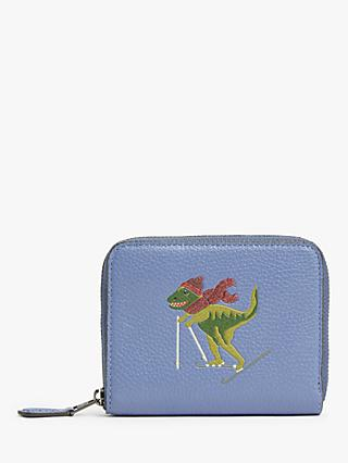 Coach Rexy Leather Small Zip Around Purse, Stone Blue