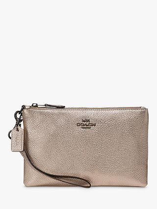 Buy Coach Leather Wristlet Purse, Platinum Online at johnlewis.com