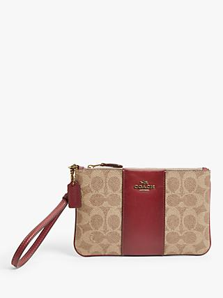 Coach Signature Print Wristlet Purse,Tan/Deep Red