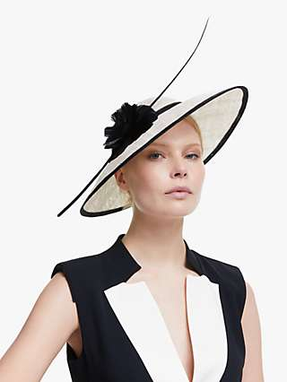 John Lewis & Partners Melissa Flower Detail Wide Brim Occasion Hat, Ivory/Black