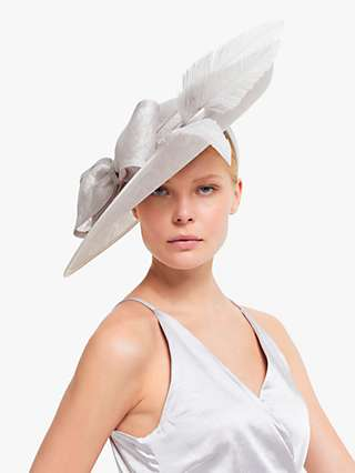 John Lewis & Partners Lucy Side Disc Bow and Quills Occasion Hat, Silver
