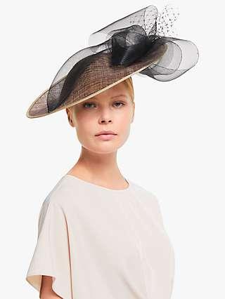 John Lewis & Partners Vanessa Fine Loop Disc Occasion Hat, Natural/Black