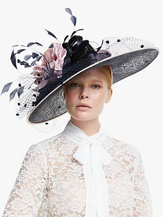 Snoxells Cassandra Flower Quills and Veil Occasion Hat, Navy/Rose