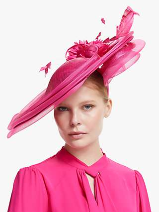 Snoxells Ava Layered Disc Flower and Quills Occasion Hat, Fuchsia