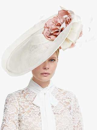 Snoxells Celia Double Disc Flower and Quills Occasion Hat, Ivory/Rose