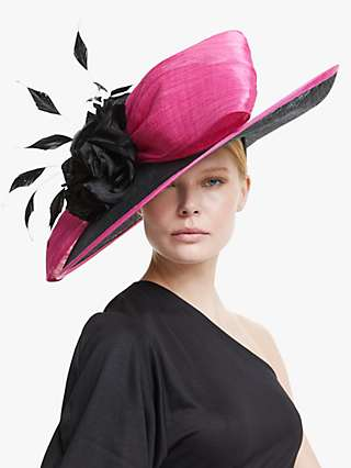 Snoxells Grace Wide Disc Statement Bow and Rose Applique Occasion Hat, Black/Fuchsia