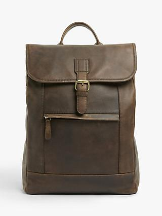 John Lewis & Partners Ottawa Oiled Leather Backpack, Brown