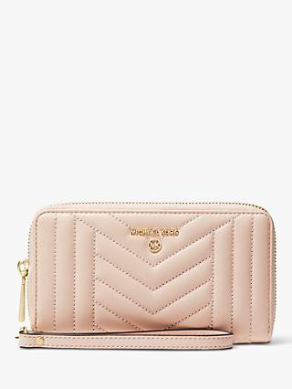MICHAEL Michael Kors Large Quilted Leather Travel Phone Case Purse, Soft Pink