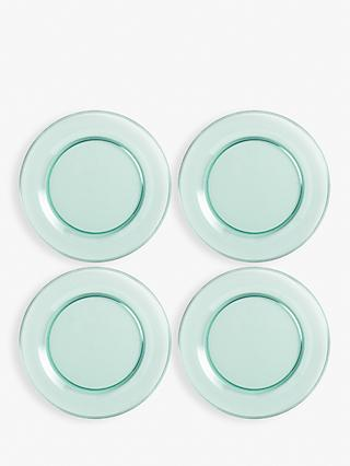 House by John Lewis Recycled Glass-Effect Picnic Plates, Set of 4, 25cm, Blue