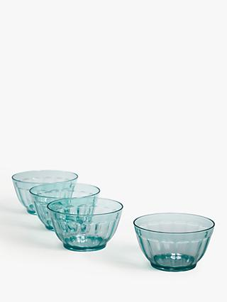 House by John Lewis Recycled Glass-Effect Fluted Picnic Bowls, Set of 4, 14cm, Blue