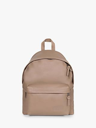 Eastpak Padded Pak'r Leather Backpack, Taupe