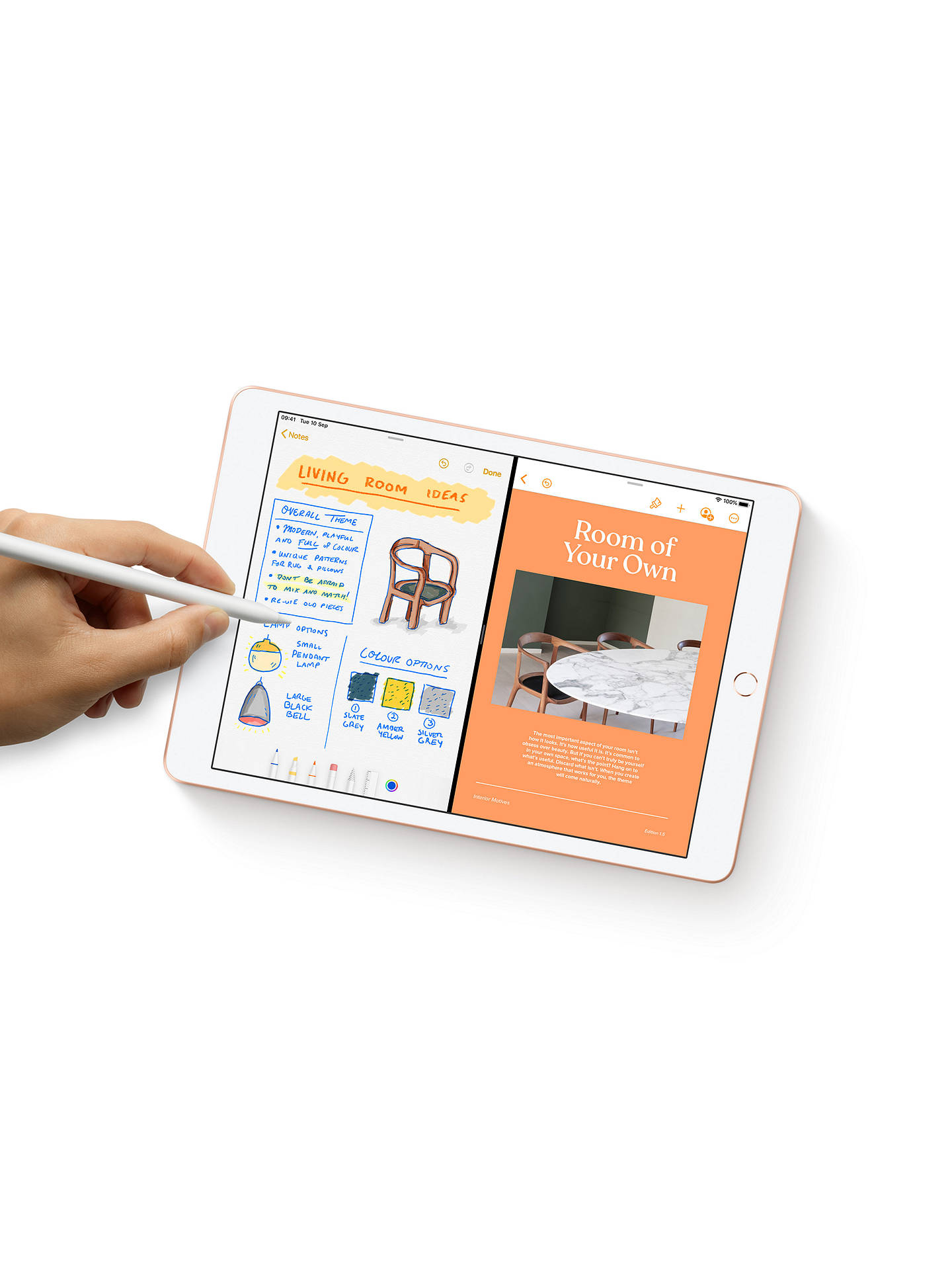 "Buy 2019 Apple iPad 10.2"", A10, iPadOS, Wi-Fi & Cellular, 32GB, Gold Online at johnlewis.com"