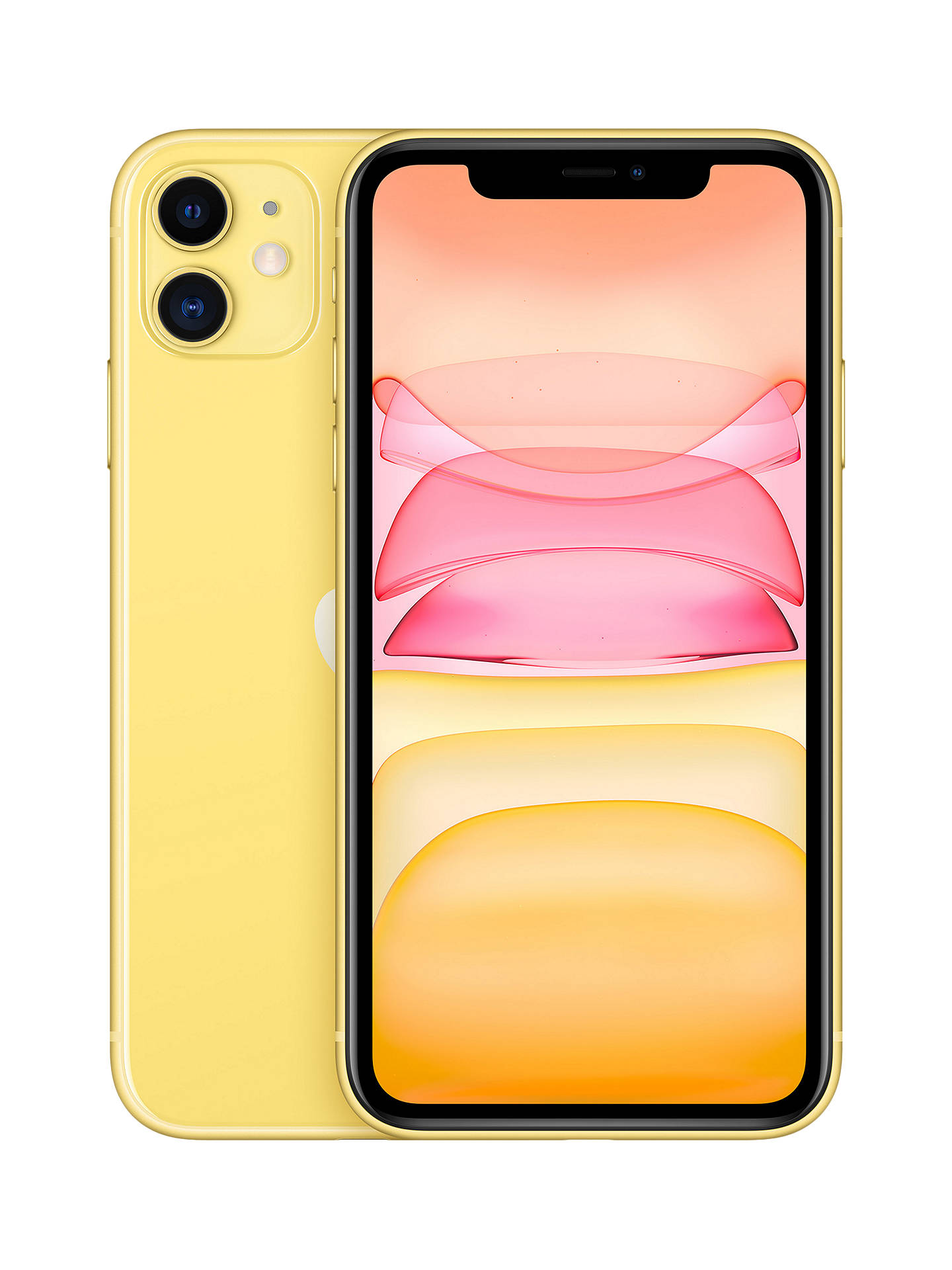 "Buy Apple iPhone 11, iOS, 6.1"", 4G LTE, SIM Free, 128GB, Yellow Online at johnlewis.com"