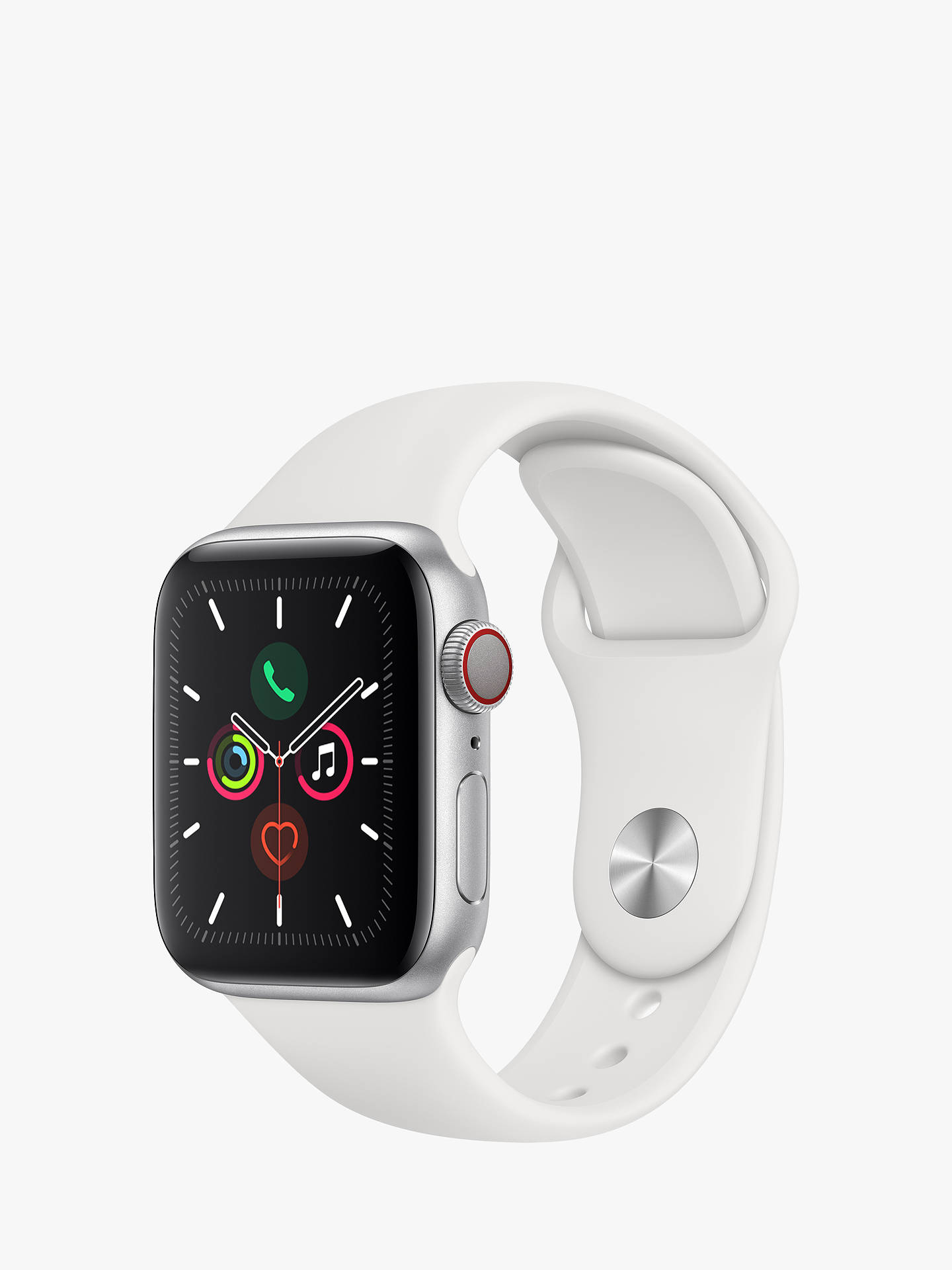 Buy Apple Watch Series 5 GPS + Cellular, 40mm Silver Aluminium Case with White Sport Band Online at johnlewis.com