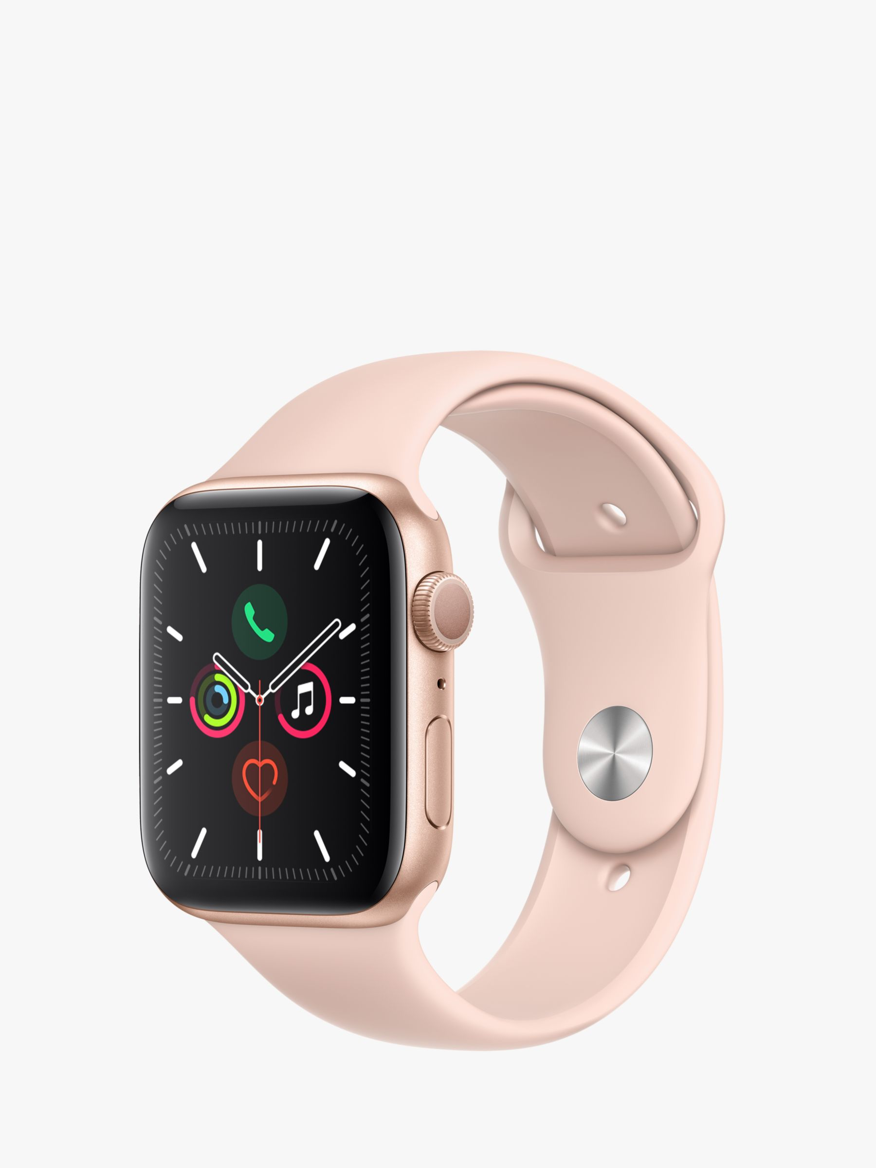 Apple Apple Watch Series 5 GPS, 44mm Gold Aluminium Case with Pink Sand Sport Band - S/M & M/L