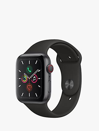 Apple Watch Series 5 GPS + Cellular, 44mm Space Grey Aluminium Case with Black Sport Band