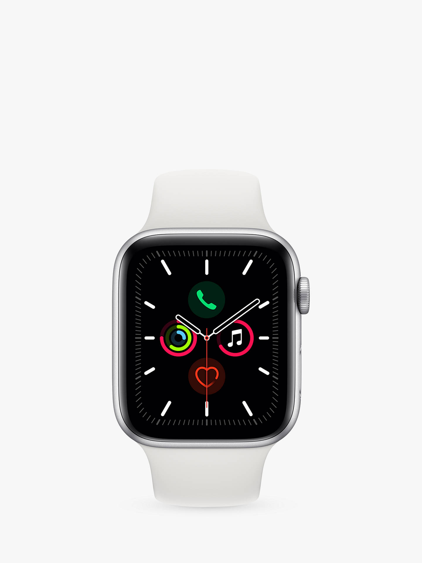Buy Apple Watch Series 5 GPS, 44mm Silver Aluminium Case with White Sport Band - S/M & M/L Online at johnlewis.com