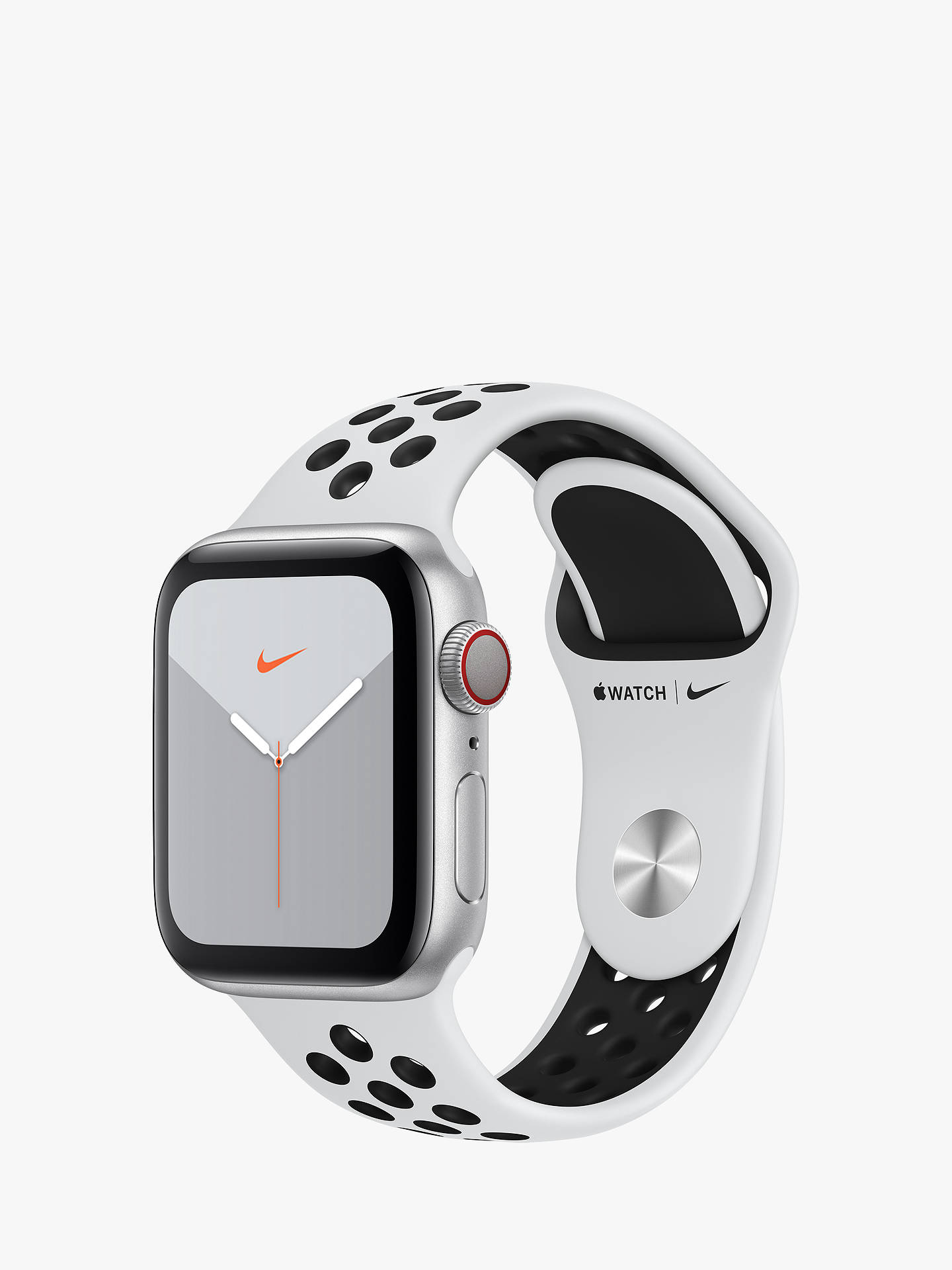 Fecha roja agudo arrendamiento  Apple Watch Nike Series 5 GPS + Cellular, 40mm Silver Aluminium Case with  Pure Platinum/Black Nike Sport Band - S/M & M/L at John Lewis & Partners