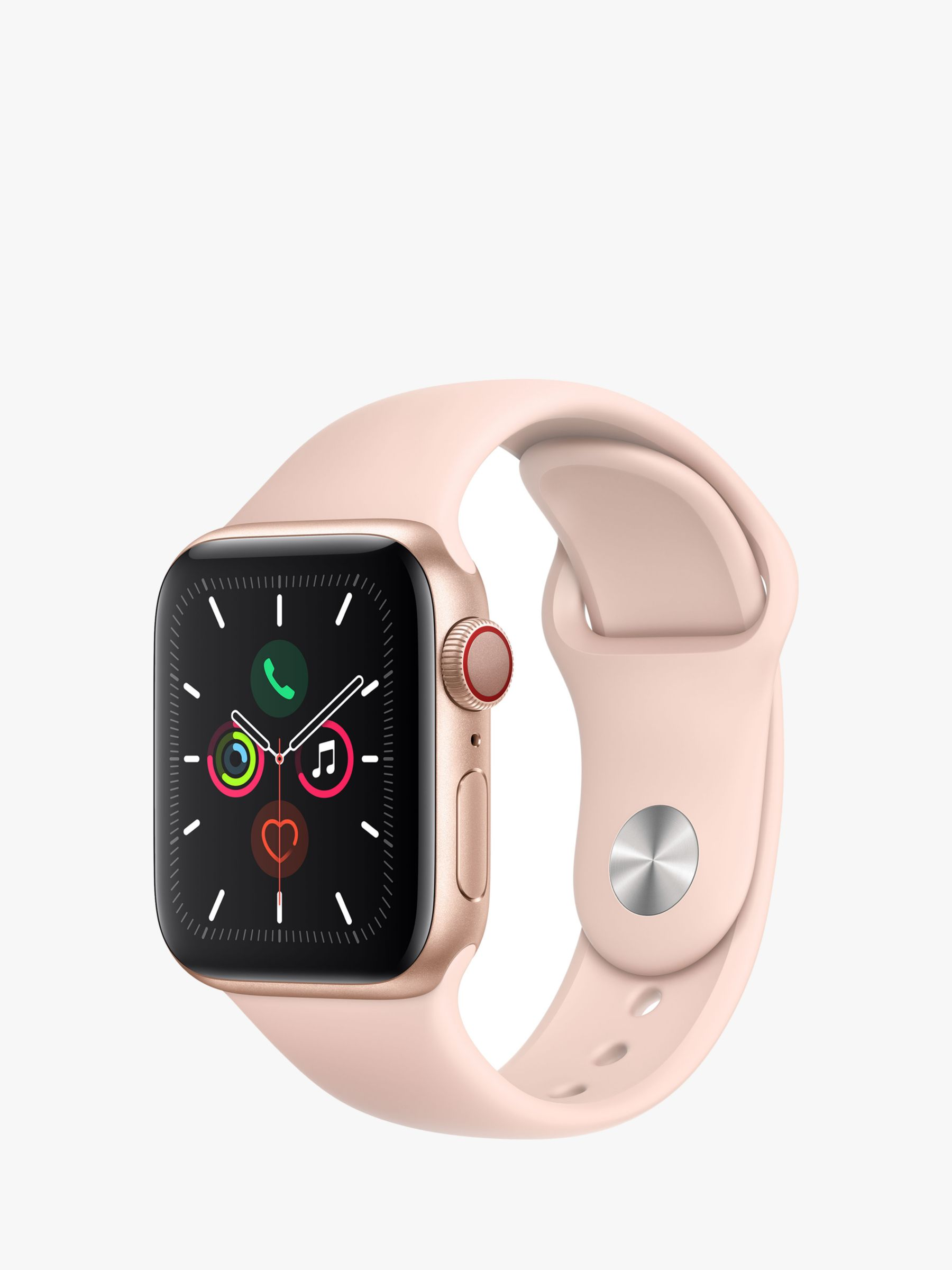 Apple Apple Watch Series 5 GPS + Cellular, 40mm Gold Aluminium Case with Pink Sand Sport Band