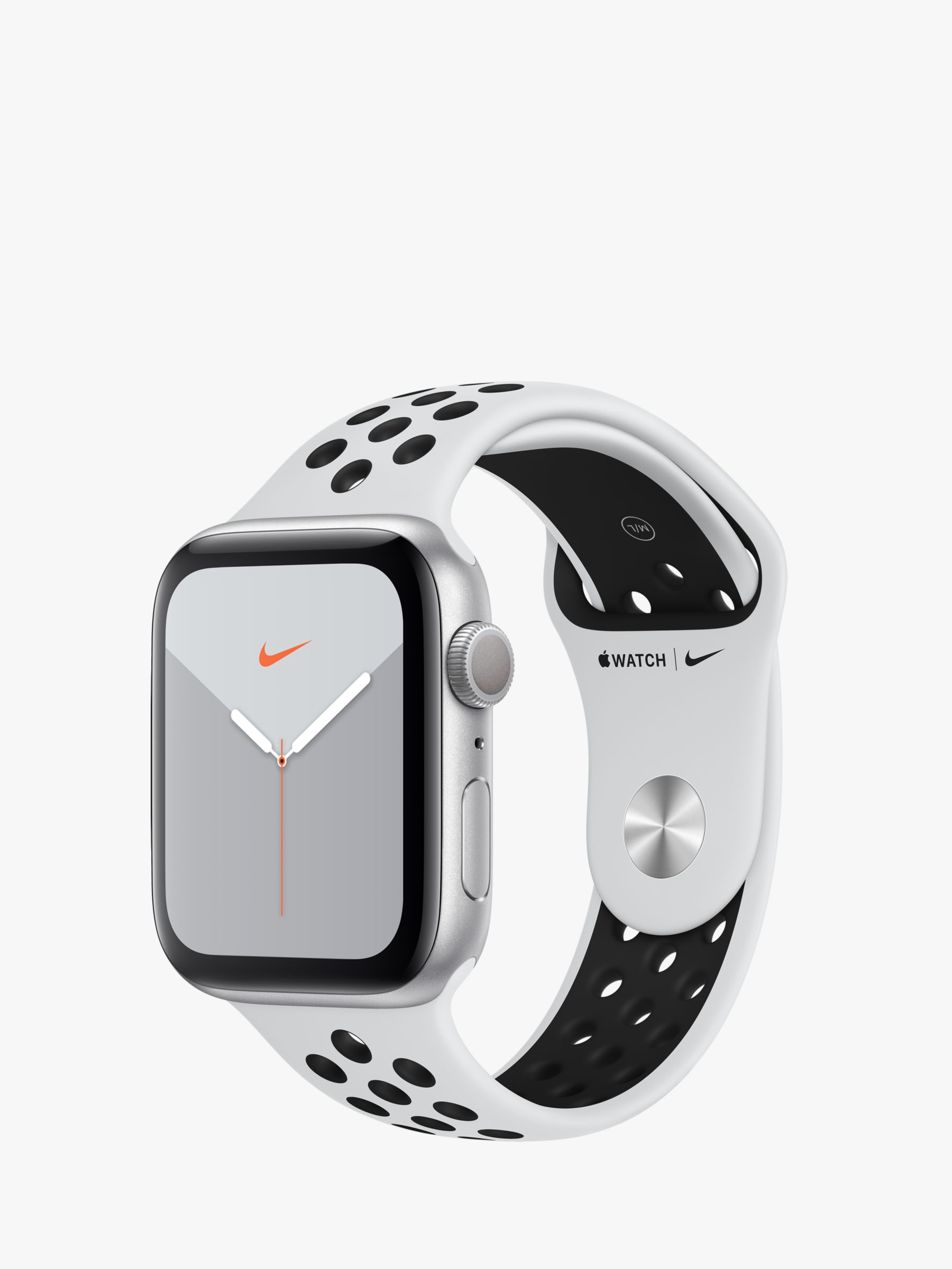 Apple Apple Watch Nike Series 5 GPS, 44mm Silver Aluminium Case with Pure Platinum/Black Nike Sport Band - S/M & M/L