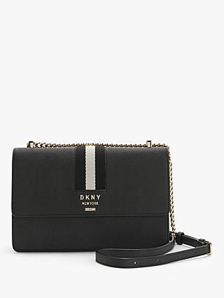 DKNY Liza Leather Medium Shoulder Bag, Black/Gold