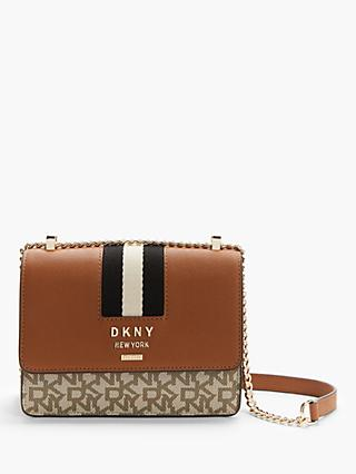 DKNY Liza Leather Logo Small Shoulder Bag, Chino/Caramel
