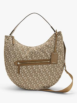 DKNY Casey Logo Print Zip Top Hobo Bag