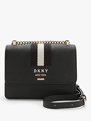 DKNY Liza Leather Small Shoulder Bag, Black/Gold