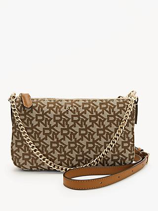DKNY Logo Print Leather Cross Body Bag