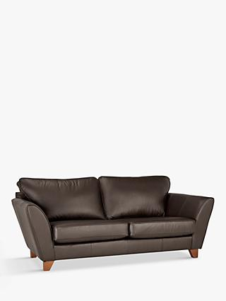 John Lewis & Partners Oslo Large 3 Seater Leather Sofa, Dark Leg, Destroyed Black