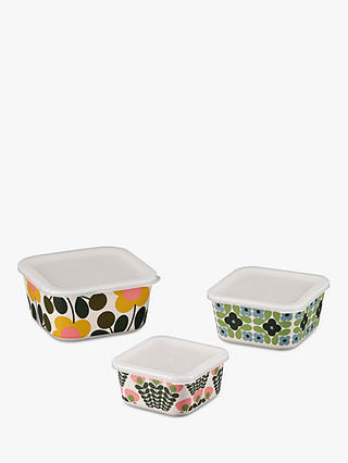 Buy Orla Kiely Flower Bamboo Food Storage Boxes, Set of 3, Multi Online at johnlewis.com