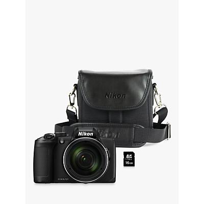 Nikon COOLPIX B600 Bridge Camera, 16MP, Full HD, 60x Optical Zoom, Wi-Fi, Bluetooth, 3 LCD Screen, Black, with Case & 16GB Memory Card