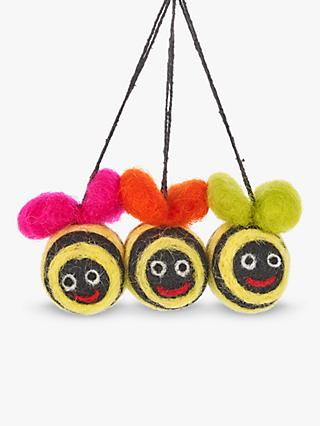 Felt So Good Mini Groovy Bees Easter Tree Hanging Decorations, Pack of 3