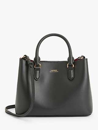 Lauren Ralph Lauren Marcy Leather Mini Satchel Bag, Black/Crimson