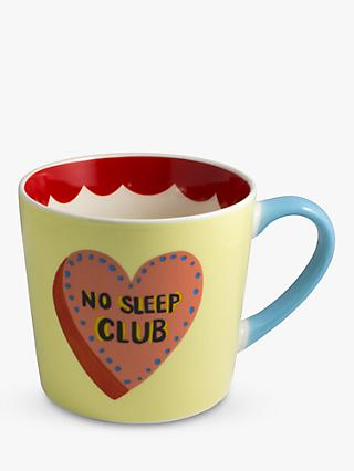 Eleanor Bowmer No Sleep Club Mug, 300ml, Yellow/Red