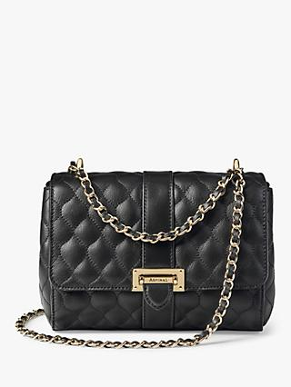 Aspinal of London Lottie Quilted Leather Cross Body Bag, Black