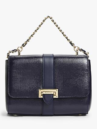Aspinal of London Lottie Small Leather Shoulder Bag, Midnight Blue